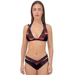 Outer Space Red Stars Star Double Strap Halter Bikini Set by Sapixe