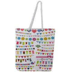 Owl Pattern Full Print Rope Handle Tote (large) by Sapixe