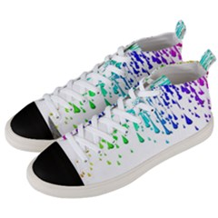 Paint Drops Artistic Men s Mid Top Canvas Sneakers by Sapixe