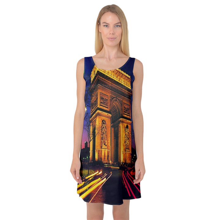 Paris Cityscapes Lights Multicolor France Sleeveless Satin Nightdress