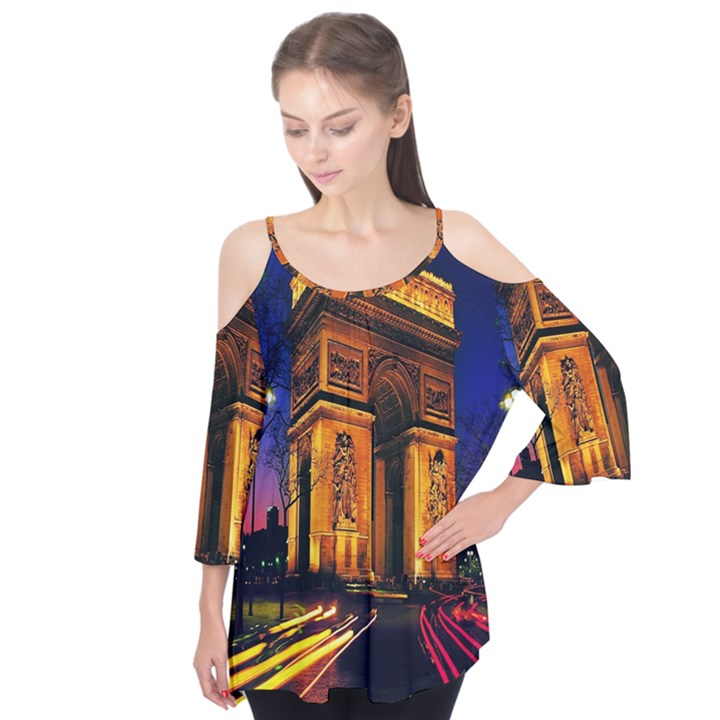 Paris Cityscapes Lights Multicolor France Flutter Tees