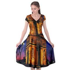 Paris Cityscapes Lights Multicolor France Cap Sleeve Wrap Front Dress