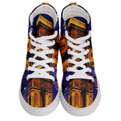 Paris Cityscapes Lights Multicolor France Men s Hi Top Skate Sneakers