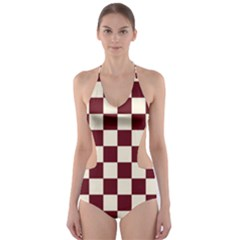 Pattern Background Texture Cut-Out One Piece Swimsuit
