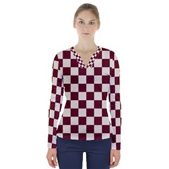 Pattern Background Texture V-Neck Long Sleeve Top