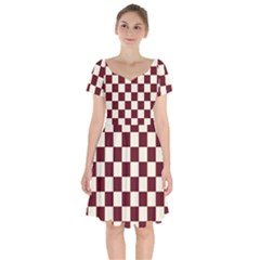 Pattern Background Texture Short Sleeve Bardot Dress