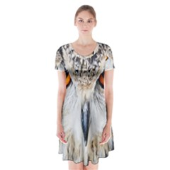 Owl Face Short Sleeve V Neck Flare Dress