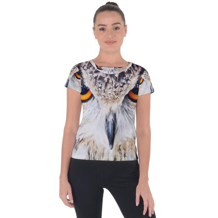 Owl Face Short Sleeve Sports Top