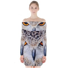 Owl Face Long Sleeve Off Shoulder Dress by Sapixe