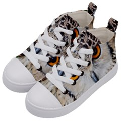 Owl Face Kid s Mid Top Canvas Sneakers by Sapixe