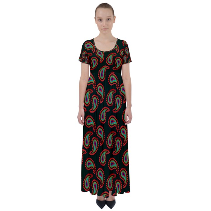 Pattern Abstract Paisley Swirls High Waist Short Sleeve Maxi Dress