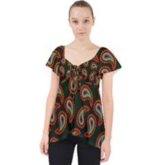 Pattern Abstract Paisley Swirls Lace Front Dolly Top by Sapixe