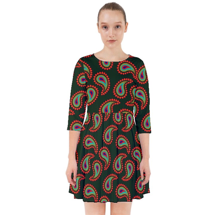 Pattern Abstract Paisley Swirls Smock Dress