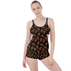 Pattern Abstract Paisley Swirls Boyleg Tankini Set  by Sapixe