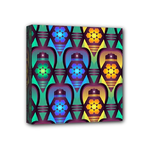 Pattern Background Bright Blue Mini Canvas 4  X 4  by Sapixe