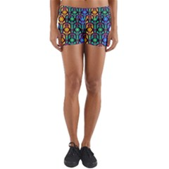 Pattern Background Bright Blue Yoga Shorts by Sapixe