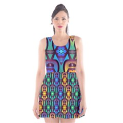 Pattern Background Bright Blue Scoop Neck Skater Dress by Sapixe