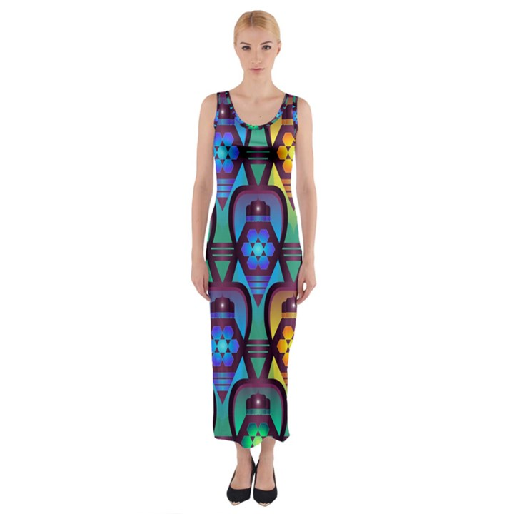 Pattern Background Bright Blue Fitted Maxi Dress