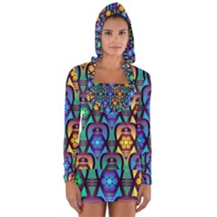 Pattern Background Bright Blue Long Sleeve Hooded T Shirt by Sapixe