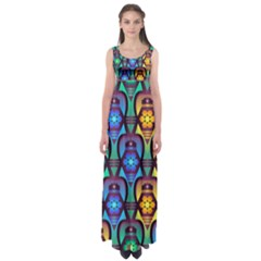 Pattern Background Bright Blue Empire Waist Maxi Dress