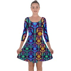 Pattern Background Bright Blue Quarter Sleeve Skater Dress by Sapixe
