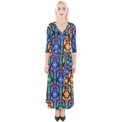 Pattern Background Bright Blue Quarter Sleeve Wrap Maxi Dress by Sapixe