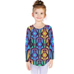 Pattern Background Bright Blue Kids  Long Sleeve Tee by Sapixe