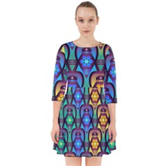 Pattern Background Bright Blue Smock Dress by Sapixe