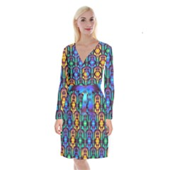 Pattern Background Bright Blue Long Sleeve Velvet Front Wrap Dress by Sapixe