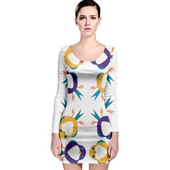Pattern Circular Birds Long Sleeve Bodycon Dress