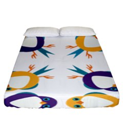 Pattern Circular Birds Fitted Sheet (King Size)