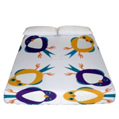 Pattern Circular Birds Fitted Sheet (California King Size)