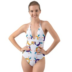 Pattern Circular Birds Halter Cut-Out One Piece Swimsuit