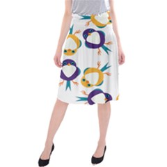 Pattern Circular Birds Midi Beach Skirt by Sapixe