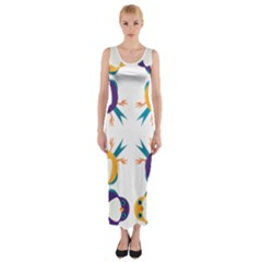 Pattern Circular Birds Fitted Maxi Dress by Sapixe