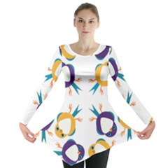 Pattern Circular Birds Long Sleeve Tunic  by Sapixe