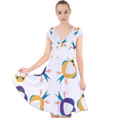 Pattern Circular Birds Cap Sleeve Front Wrap Midi Dress
