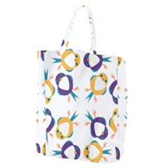 Pattern Circular Birds Giant Grocery Zipper Tote