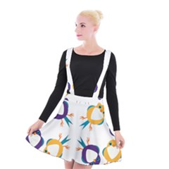 Pattern Circular Birds Suspender Skater Skirt by Sapixe