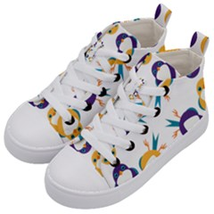 Pattern Circular Birds Kid s Mid-Top Canvas Sneakers