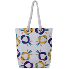 Pattern Circular Birds Full Print Rope Handle Tote (small) by Sapixe