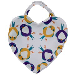Pattern Circular Birds Giant Heart Shaped Tote