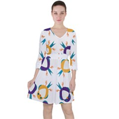 Pattern Circular Birds Ruffle Dress