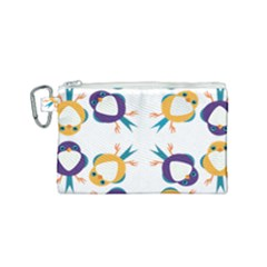Pattern Circular Birds Canvas Cosmetic Bag (Small)