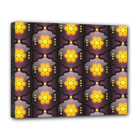 Pattern Background Yellow Bright Canvas 14  x 11