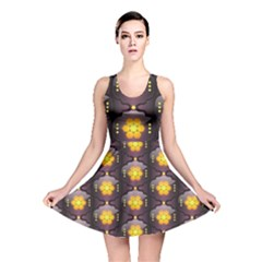 Pattern Background Yellow Bright Reversible Skater Dress