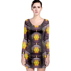 Pattern Background Yellow Bright Long Sleeve Bodycon Dress