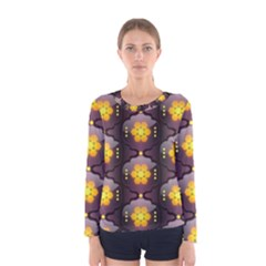 Pattern Background Yellow Bright Women s Long Sleeve Tee
