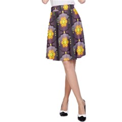 Pattern Background Yellow Bright A-Line Skirt