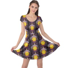 Pattern Background Yellow Bright Cap Sleeve Dress